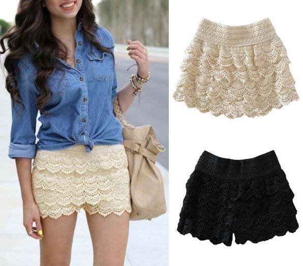 Short saia feminino rendado